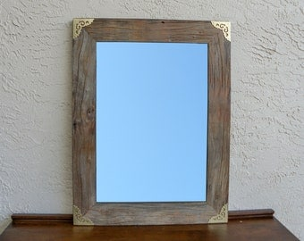 Reclaimed Wood Mirror with Gold Metal Corners. Rustic Decor. Eco Friendly. Large Mirror. Framed Mirror. Modern Mirror. Rustic Mirror. L
