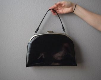 Black Faux Leather Handbag