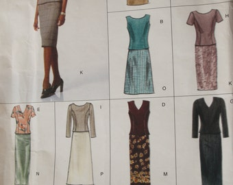 VOGUE Easy Options, UNCUT Vogue 2218 Sewing Pattern Easy Top and Skirt, fitted top, princess seams, size 6-8-10