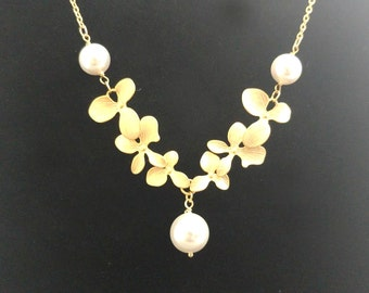 Triple, Pearl,  Orchid, Gold, Silver, Necklace, Orchid, Flower, Jewelry, Great, Idea, For, Wedding, Engagement, Party, Birthday, Gift