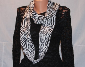Zebra printed fashion loop scarf