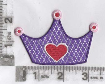 Royal purple crown iron on patch