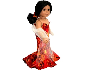 Fiery Red, Orange, Gold, Yellow Glamorous Strapless Grammy Gown for 18 Inch Dolls such as American Girl, Our Generation, Madam Alexander