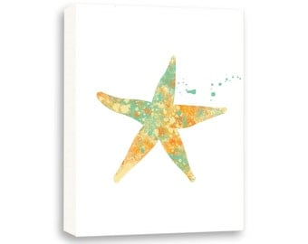 Starfish, Watercolor Sea Art, Bathroom Wall Art, Limited Edition Gallery Wrapped Canvas - NS5002C
