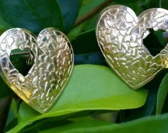 Vintage 10k Yellow Gold Heart Earrings Estate Jewelry Ladies