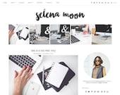 "Premade Blogger Template Responsive Design | Blog Theme ""Selena Moon"" | Instant Download | Graphic & Web Design"