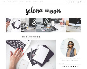 "Premade Blogger Template Responsive Design | Blog Theme ""Selena Moon"" 