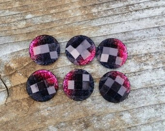 10mm Pink & Charcoal Ombre Cabochon