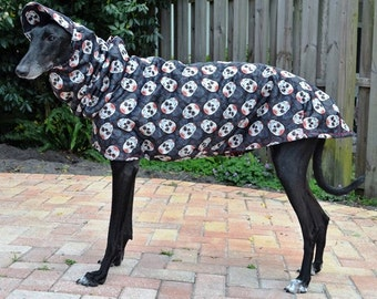 "Greyhound Raincoat - ""Candy Skulls""."