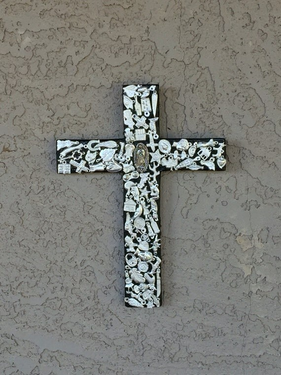 Mexican Wall Hanging Decor : Rustic mexican cross wall decor black by los butterfly