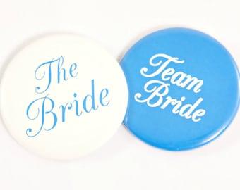 """Team Bride Button. 2.25"""". Bride Button. Bridesmaid Button. Bridal Party Button. Bachelorette Button. Bachelorette Party Favors."""