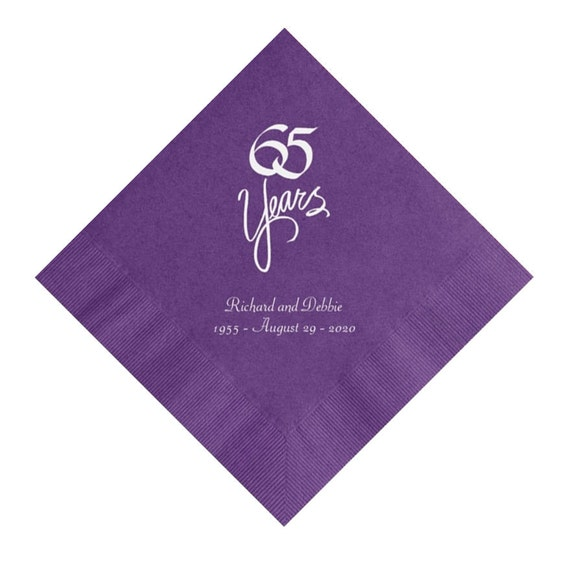65 years 65th wedding anniversary napkins personalized set of 100 napkins anniversary party. Black Bedroom Furniture Sets. Home Design Ideas
