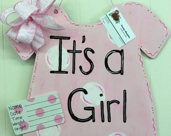 Its a girl! Wooden door hanger