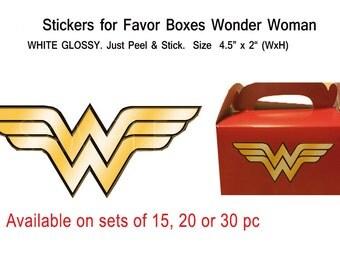 WONDER WOMAN SYMBOL  Stickers on White Glossy self adhesive ~