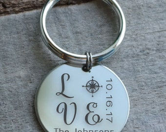 Compass Love Personalized Key Chain - Engraved