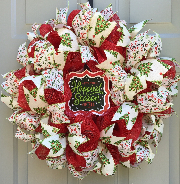 Deco Mesh Christmas Tree Wreath: Christmas Deco Mesh Wreath Slim Christmas Wreath Happiest