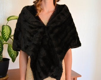 Beaver Faux Fur Stole, Dark Brown Vintage 1950s  Wrap, Lined in Burnt Orange Satin with a Wrapped Hook and Eye Closure
