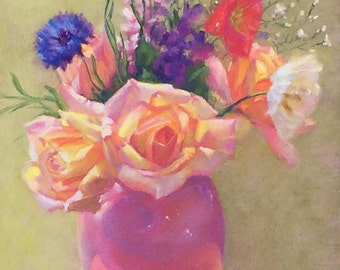 Original Painting-Pastel-Floral Still Life-Roses-Vase