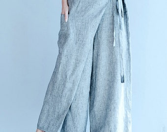 women leisure cotton pants/women loose wide leg pants/women fashion pants/women cotton long pants/