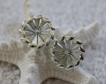 Gorgeous Vintage Silver Tone Clip On Screw Back Earrings Signed Coro