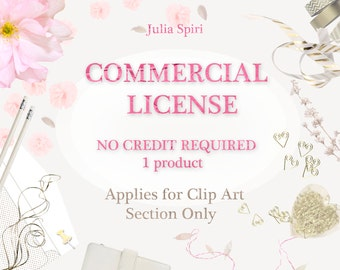 Commercial License for CLIP ART Section Only, NO Credit Required, Single product