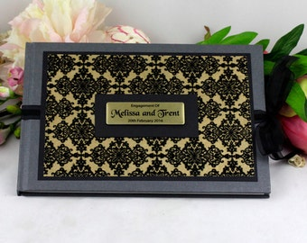 Personalised Wedding\Engagement Guest Book Memory Album - Gold