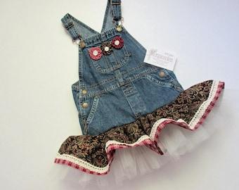 Girls/toddler 3T upcycled denim overall jumper/tutu/dress with ruffled skirt/lace/tulle/yoyos. Western/burgundy dress/Boho/jean tutu/gift