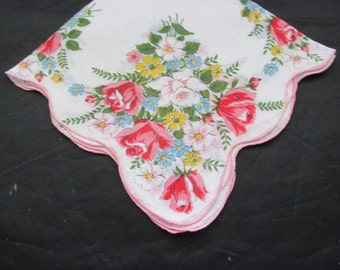 Vintage Handkerchief - Spring Flowers - Roses,Daisies and Daffodail
