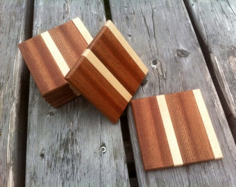 Cutting board style square wood coasters Mahogany and Maple