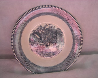 "Royal China Currier and Ives Rim Soup Bowl Blue ""Early Winter"""