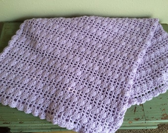 Lilac Lace Crochet Baby Blanket; Hand Crochet Blanket; Hand Crochet Baby Blanket; Crib Blanket; Stroller Blanket; Baby Shower Gift