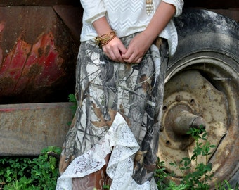 Realtree AP, Hunting Camo, Maxi Skirt, Long Maxi Skirt , Made in USA, Custom Made, Womens,Plus Size,Teens, Lace