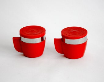 Vintage Thermos Mug / Coffee Cups with Lid - Made in Italy by INOXRIV - Red - Insulated Mugs