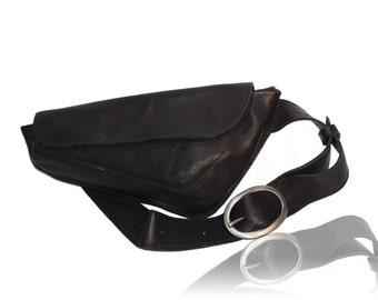 Black Leather waist bag, Leather Belt Bag Woman, Hip Bag Leather, Leather Belt Bag, Leather Pouch, Leather Pouch Bag, Handmade Handbags