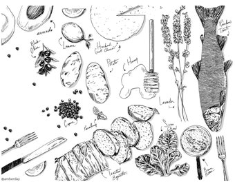 Ingredients Food Kitchen Adult Coloring Page