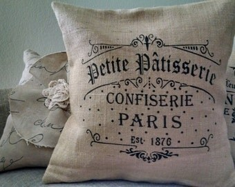 """Country French 16""""x16"""" Petite Patisserie Burlap Pillow Cover"""