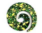 Forest Art, Nature Mosaic, Stained Glass Swirl, Green Decor, Ready to Hang, Woodland Wall Hanging, Leaves