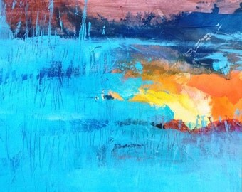 Sunset reflection - abstract original painting on canvas. Abstract landscape. Contemporary art.