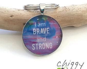 Affirmation keyring - I am Brave - purple / blue