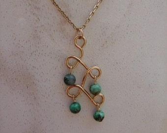 Necklace in gold 585 (14 K) with genuine turquoise beads, precious & fine!