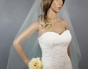 Ivory Wedding Veil Fingertip, One Layer Plain Viel