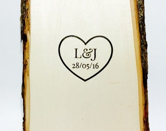 rustic wedding guest book alternative - heart with initials and date