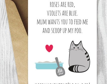 DIY For Him Valentines Card Printable For Dad UK, Funny Cat Valentines Day  Card,