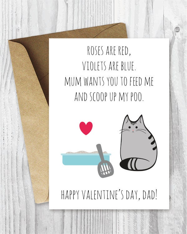 DIY for Him Valentines Card Printable for Dad UK Funny Cat – Printable Funny Valentine Cards