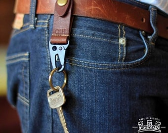 The Henry PERSONALIZED Fine Leather Keychain Key Fob Ring Keyring belt clip keychain