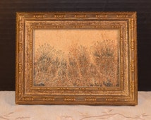 Wild Weeds Oil Painting Vintage Original Art Wild Grass Oil on Canvas Small Painting Post Impression Art Framed Painting Retro Art