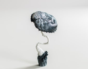 white-black mushroom, fiberart, soft sculpture,