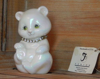 Vintage White Glass Bear with Diamond Necklace by Fenton / April Birthstone Diamond Crystal Rhinestone Necklace White Bear Artist Signed