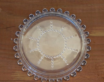 Set of Eight 8 Candlewick Coasters / Crystal Plates by Imperial Glass Company Clear Glass Coasters / 400 78 10 / Small Glass Plate