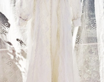 Vintage wedding dress with lace and small train, boho wedding dress